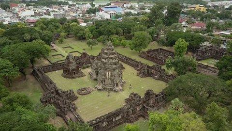 4k drone shot of Phimai largest Khmer temples of Thailand Prasat Hin Historical Park . Nakhon Ratchasima Provice