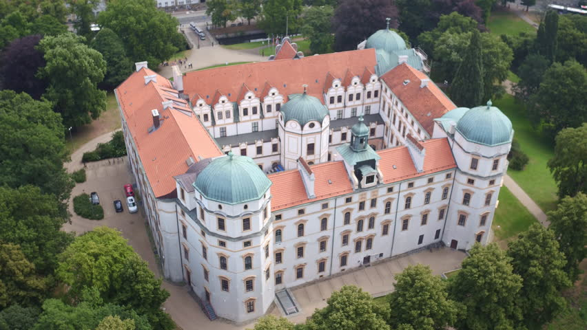 Celle, Germany - 07-29-2016: Drone panning and travelling over and around Celle castle