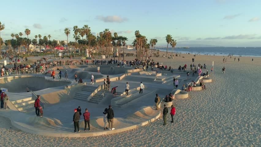 Venice Beach Skate Park. Los Angeles. California. 4K. May 2018 | Shutterstock HD Video #1012205954