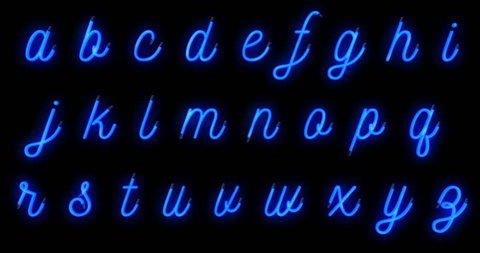 turn on turn off, seamless loop ready, neon font blue alphabet letters word text series symbol sign on black background, neon letters alphabet decoration text for advertisement