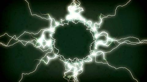Magic circle round frame electricity energy white lightning cartoon animation