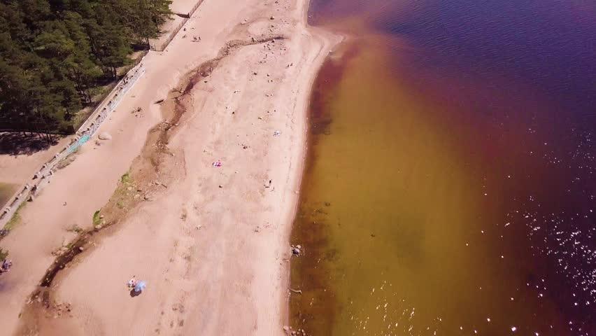 Finnish gulf beach on the forest edge near Saint Petersburg in Leningrad region   Shutterstock HD Video #1012233734