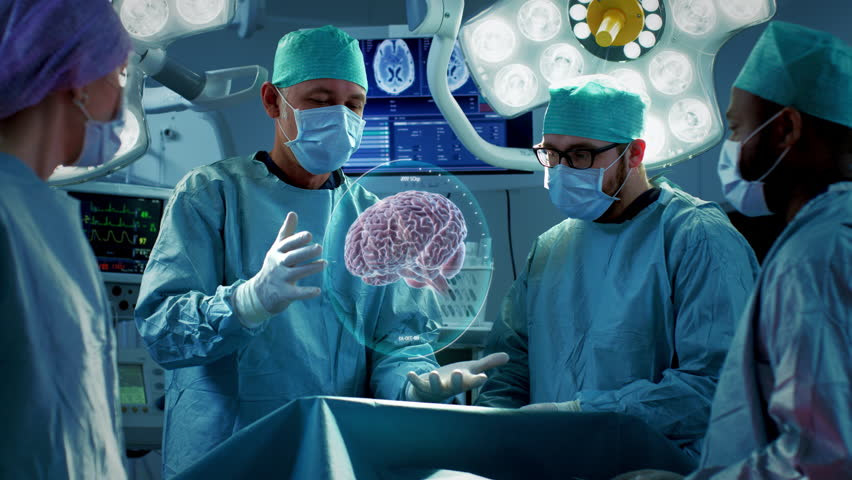 Surgeons Perform Brain Surgery Using Augmented Reality, Animated 3D Brain. High Tech Technologically Advanced Hospital. Futuristic Theme. Shot on RED EPIC-W 8K Helium Cinema Camera.