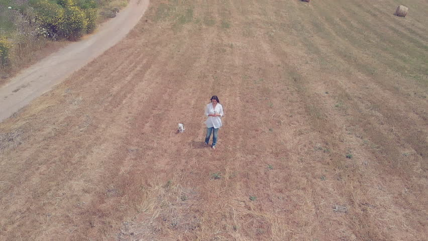 Circle aerial shot of woman picking flowers in field | Shutterstock HD Video #1012270514