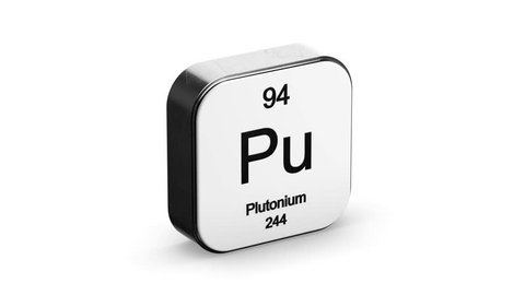 Plutonium element symbol from the periodic table on white metallic rounded square icon 3D animation