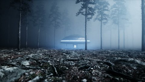 UFO in fog night forest. landing place. 4K animation.