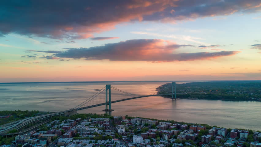 Aerial view of Verrazano bidge and overpass in Brooklyn, New York City. Timelapse dronelapse. NY from above. | Shutterstock HD Video #1012402304