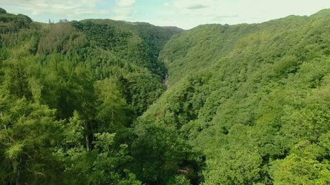 High Aerial shot over a small National Park in Wales