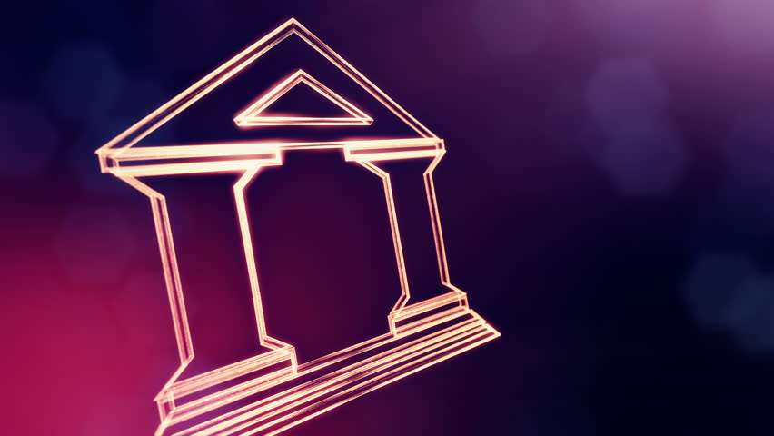 icon of bank. Financial background made of glow particles as vitrtual hologram... 3D seamless animation with depth of field, bokeh and copy space. Violet version 3