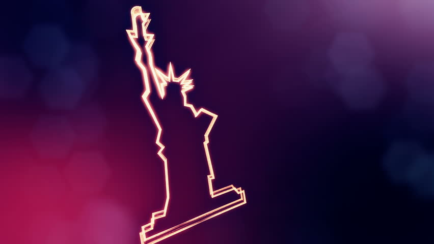 icon of The Statue of Liberty. Background made of glow particles as vitrtual hologram. 3D seamless animation with depth of field, bokeh and copy space. Violet version 3