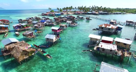 Beautiful aerial view borneo sea gypsy water village in Omadal Island, Semporna Sabah, Malaysia. aerial footage