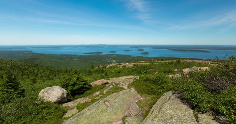 Summer Day on Top of Cadillac Mountain in Acadia National Park, Maine