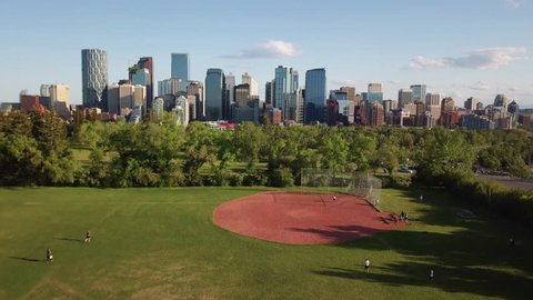 Aerial Drone Shot of Downtown Calgary Alberta