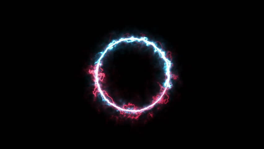 Fire and Ice plasma ring magic animation. Abstract ring of plasma with black & white for alpha transparent. Two particle ring running to each other (ying yang) element.