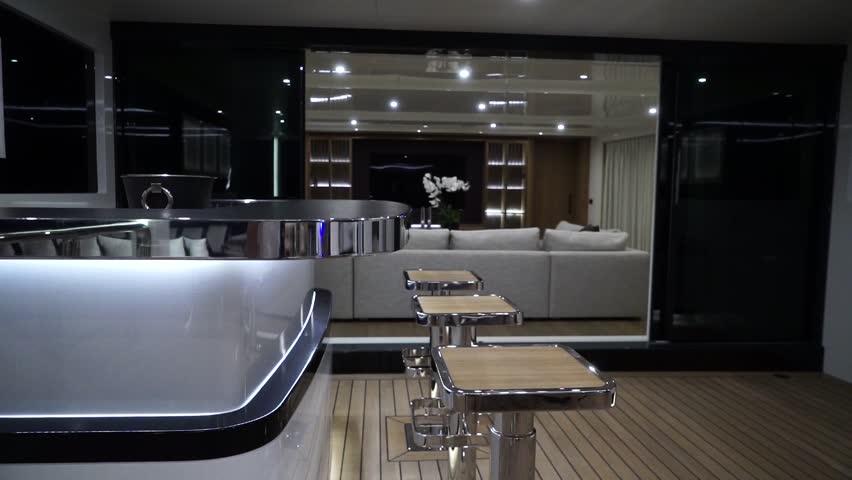 TURKEY 15 May 2018 Luxurious interior of a modern yacht. | Shutterstock HD Video #1012527194