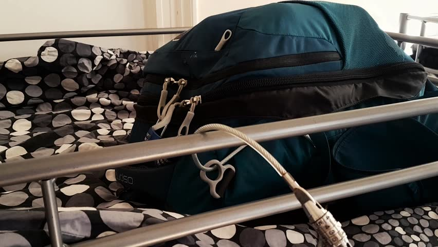 Scene from Hostel Bed Backpacking Clip Backpack showing Chained to Bunk stops thieves stealing bags items