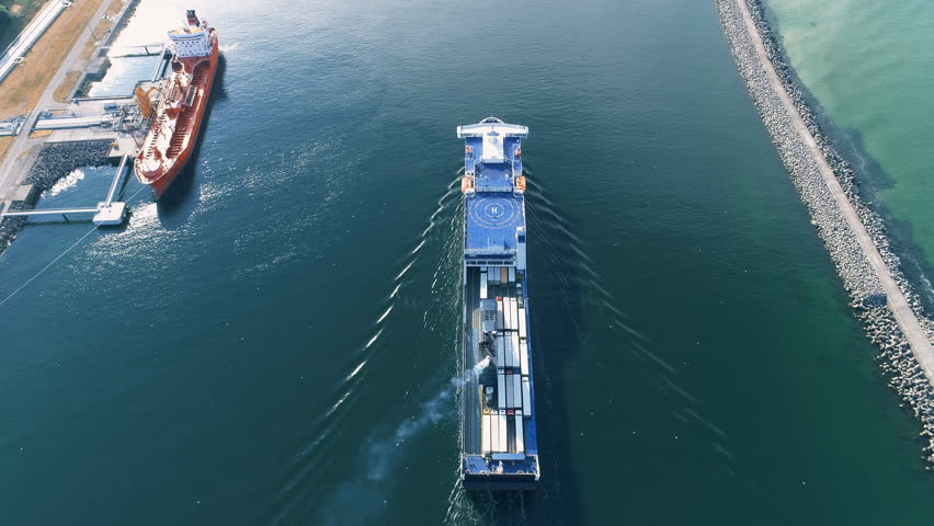 Ferry Ship in Busy Port, Aerial Overhead View