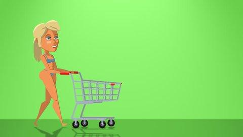 ff33fc31190 Cartoon Situation Nancy Woman. Cute Fitness Bikini Girl Character walk with  Empty Shopping Cart Animation