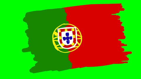 Portugal drawing flag on green screen isolated