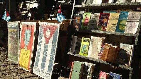 Book stalls in the market of Plaza de Armas, Cuba, Havana, 2016