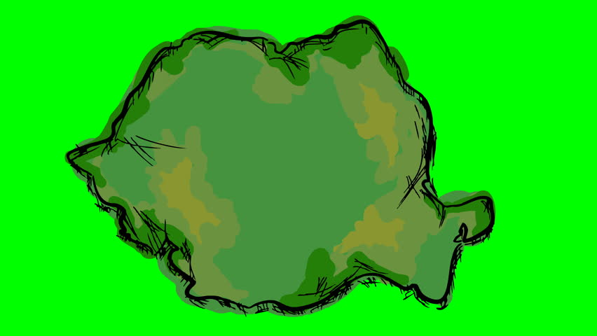 Romania drawing colored map on green screen isolated