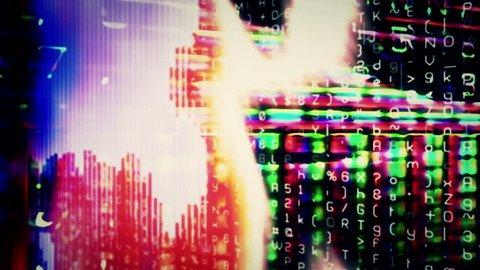 Streaming digital data forms flicker, shift and pulse (Loop).