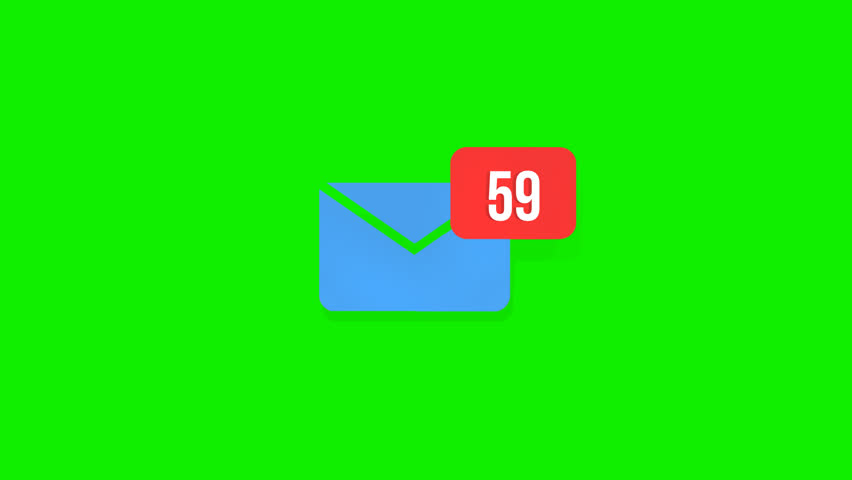 Animation of Email envelope with auto counting number on red circle. Green screen, 4k