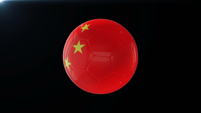 Football with flag of China, soccer ball with Chinese flag, sports equipment rotating on black background, 3D animation