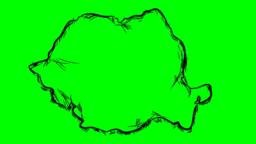 Romania drawing outline map on green screen isolated