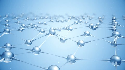 Seamless loop animation slow moving of molecules or network from glass and crystal