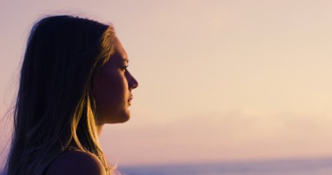 Hopeful girl looking to horizon  - Ungraded version