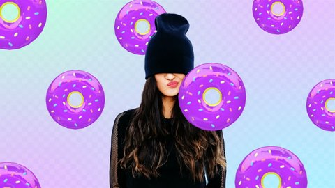 Animation fashion minimal art. Swag Girl and donuts. Donuts lover. Donuts mood