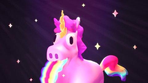 Funny unicorn puking rainbow 3d animation. (Looped)