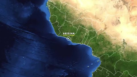 COTE D IVOIRE ABIDJAN ZOOM IN FROM SPACE