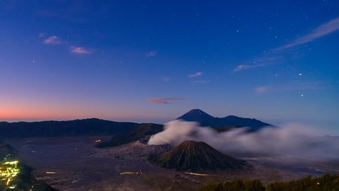 Timelapse of Mount Bromo volcano (Gunung Bromo) during sunrise from viewpoint on Mount Penanjakan in Bromo Tengger Semeru National Park, East Java, Indonesia. Camera pan to left motion.
