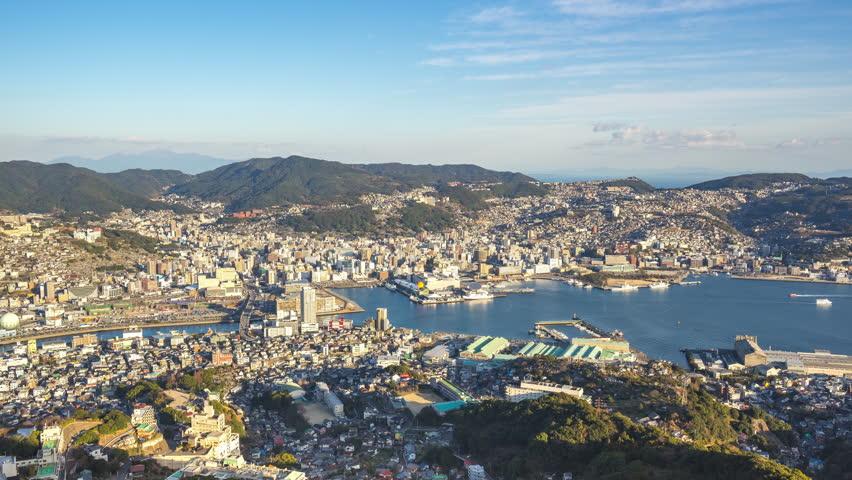Timelapse video of Nagasaki city skyline view from Inasa Mountain in Nagasaki, Japan.