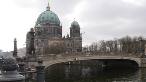 Berlin, Germany - March 9th 2017 - Berlin Cathedral / Berliner Dom and the Friedrichsbrücke bridge over the River Spree