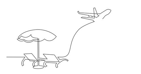 Animation of continuous line drawing of beach chairs umbrella and passenger jet