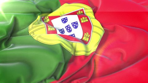 Portugal flag.Flag of Portugal Beautiful 3d animation of Portugal flag in loop mode.