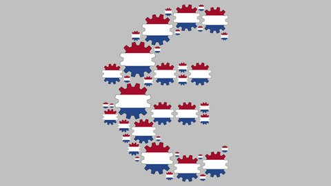 Gears with the dutch flag shaping euro symbol