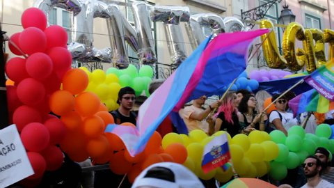 Lisbon, Portugal - June 17, 2018: LGBT people take part in Gay Pride Parade