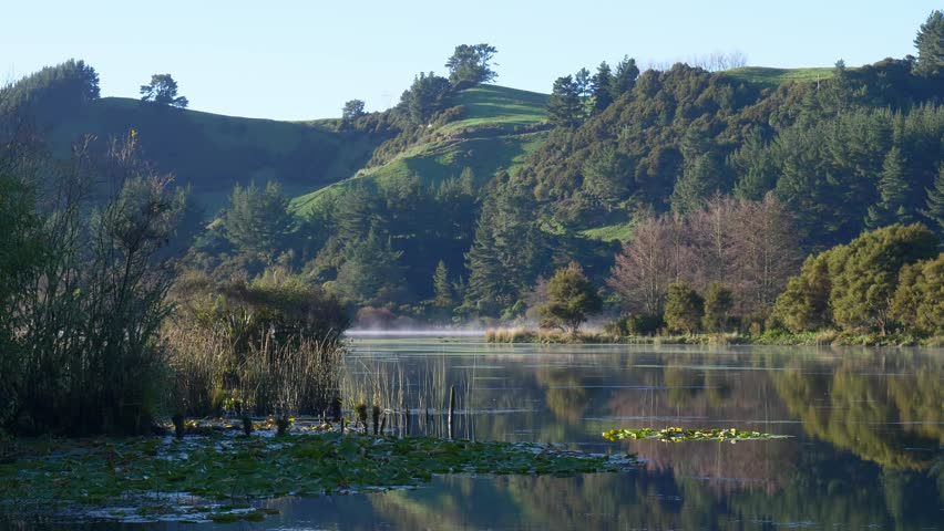Lake Whakamaru near Tokoroa in New Zealand is a popular lake to fly fish for trout