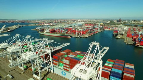 Shipyard Aerial v2 Flying low over large commercial shipyard and ships. 2015