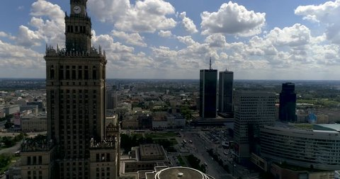 Aerial view of Warsaw dawntown, Palace of Culture,  Poland