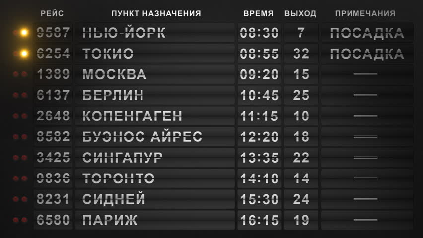 International Airport Departure Flip-Style Board (Russian Version). 20 Cities Timetable. Seamlessly Loopable Background | Shutterstock HD Video #1012866794