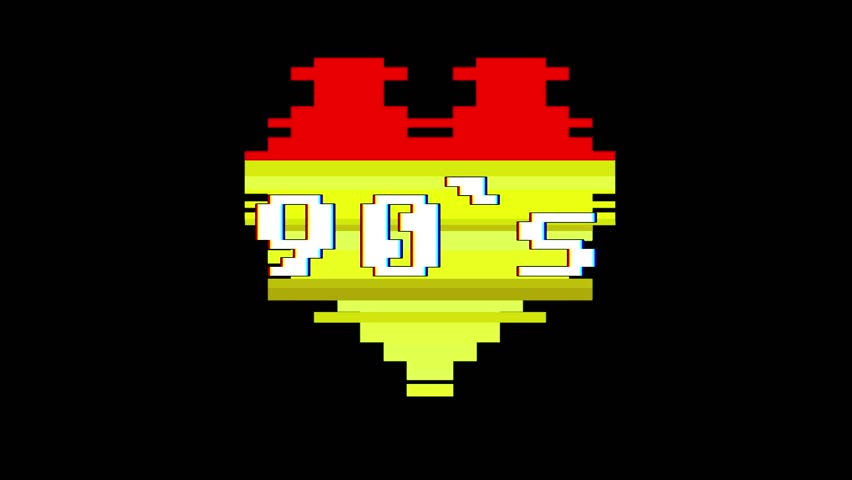 pixel heart 90s word text glitch interference screen seamless loop animation background new dynamic retro vintage joyful colorful video footage #1012882184