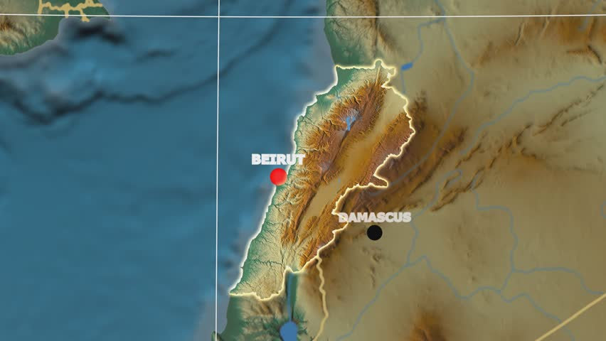 Zoom-in on Lebanon outlined on the globe. Capital, administrative borders and graticule. Relief map