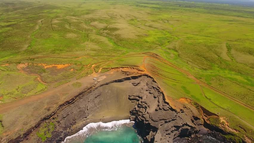 Aerial views of Papak?lea Green Sand Beach, Big Island Hawaii