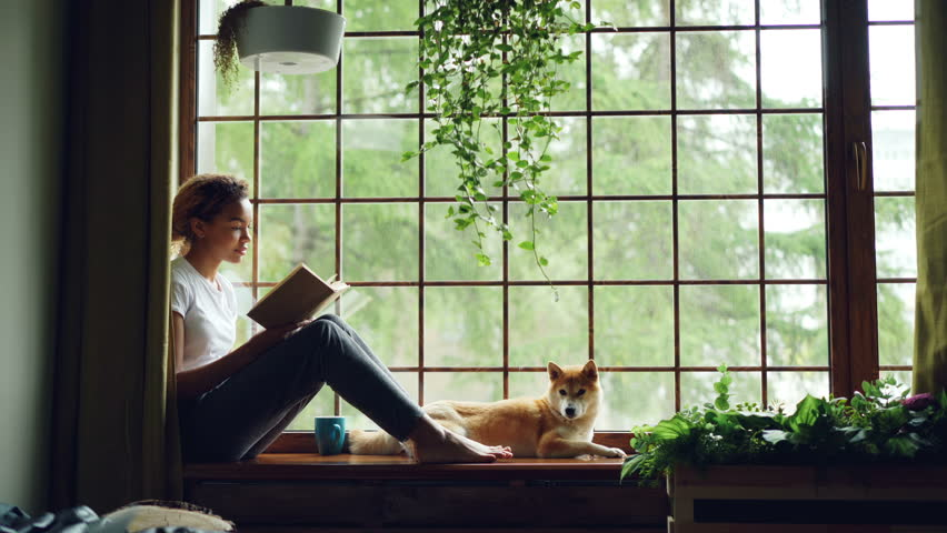 Attractive young lady is reading book sitting on windowsill in the house together with adorable puppy. Large window, green plants, nice interior is visible.