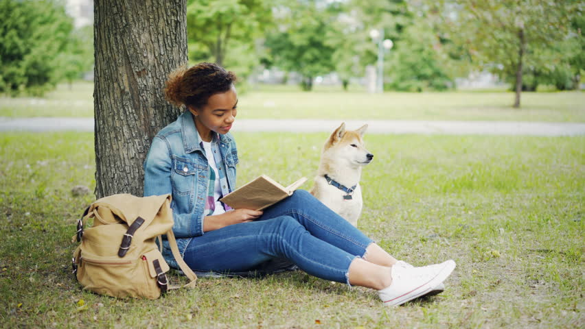 Young African American lady is reading book sitting on lawn in park and stroking her purebred pet dog with love and tenderness. Enjoying weekend with animals concept. | Shutterstock HD Video #1012911854